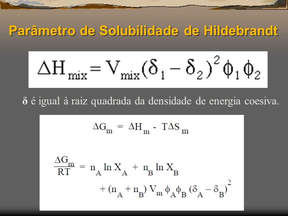Parâmetro de Solubilidade de Hildebrandt δ é igual à raiz quadrada da densidade de energia coesiva.