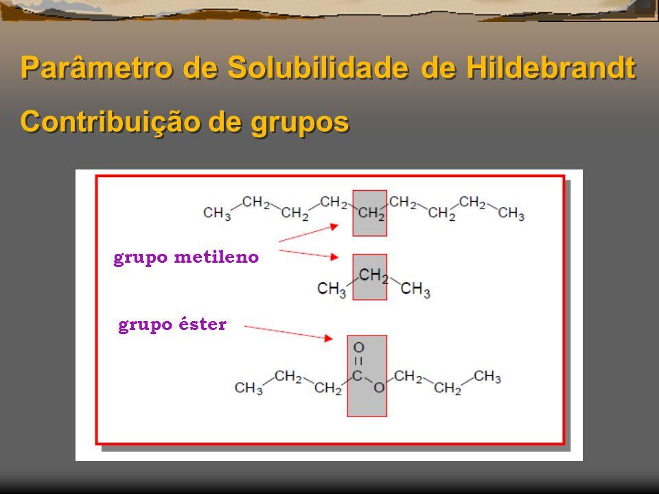 Parâmetro de Solubilidade de Hildebrandt Contribuição de grupos grupo metileno grupo éster
