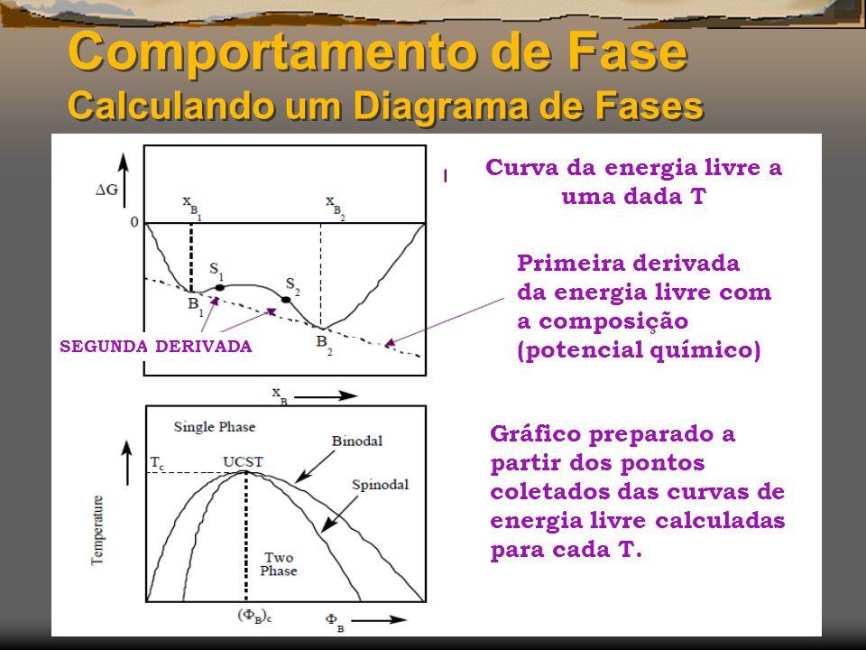 Comportamento de Fase Calculando um Diagrama de Fases Primeira derivada da energia livre com a composição (potencial químico) Curva da energia livre a