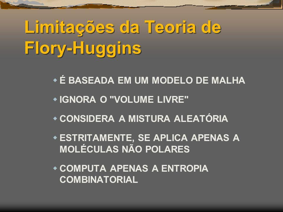 Limitações da Teoria de Flory-Huggins É BASEADA EM UM MODELO DE MALHA IGNORA O