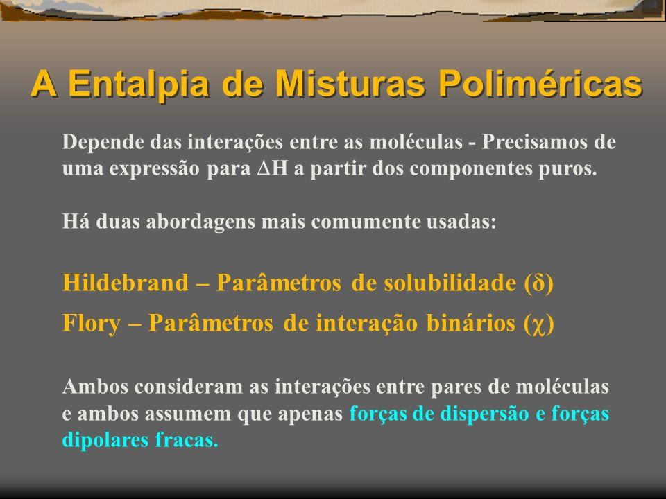 A Entalpia de Misturas Poliméricas Depende das interações entre as moléculas - Precisamos de uma expressão para H a partir dos componentes puros. Há d