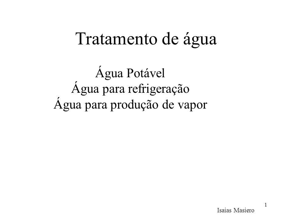 Tratamento de água 1 Isaias Masiero Água Potável Água para refrigeração Água para produção de vapor