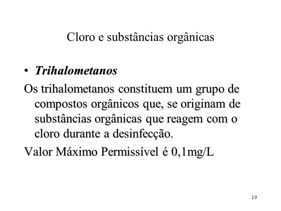 Cloro e substâncias orgânicas TrihalometanosTrihalometanos Os trihalometanos constituem um grupo de compostos orgânicos que, se originam de substância