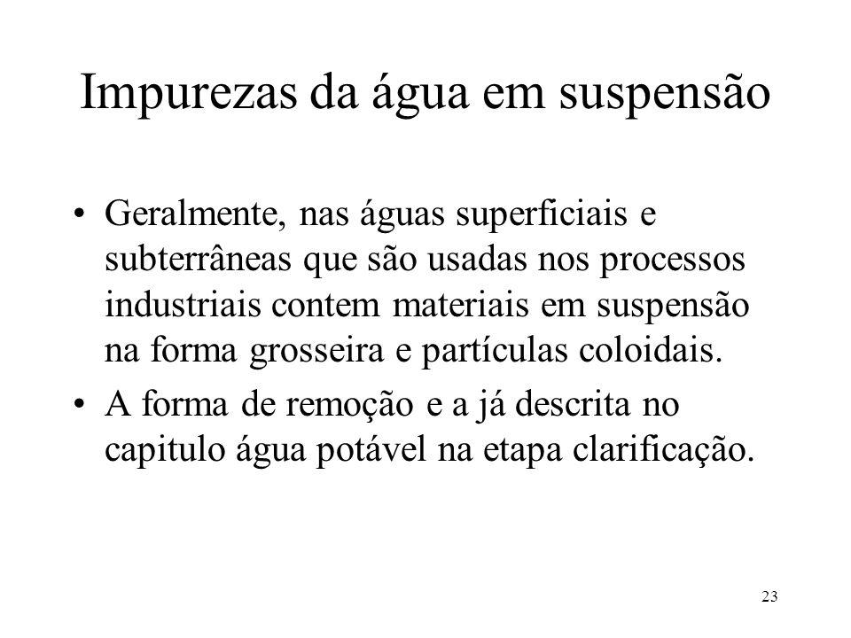 Impurezas da água em suspensão Geralmente, nas águas superficiais e subterrâneas que são usadas nos processos industriais contem materiais em suspensã