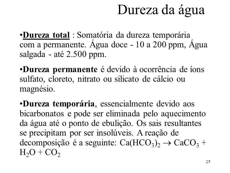 25 Dureza da água Dureza total : Somatória da dureza temporária com a permanente. Água doce - 10 a 200 ppm, Água salgada - até 2.500 ppm. Dureza perma