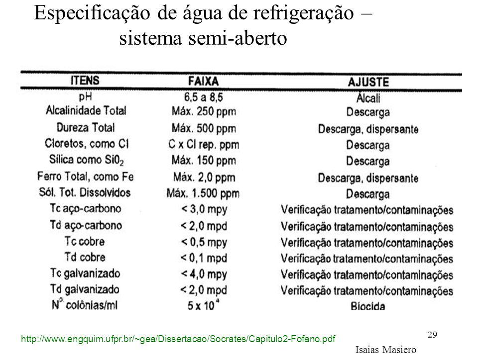 29 Especificação de água de refrigeração – sistema semi-aberto Isaias Masiero http://www.engquim.ufpr.br/~gea/Dissertacao/Socrates/Capitulo2-Fofano.pd
