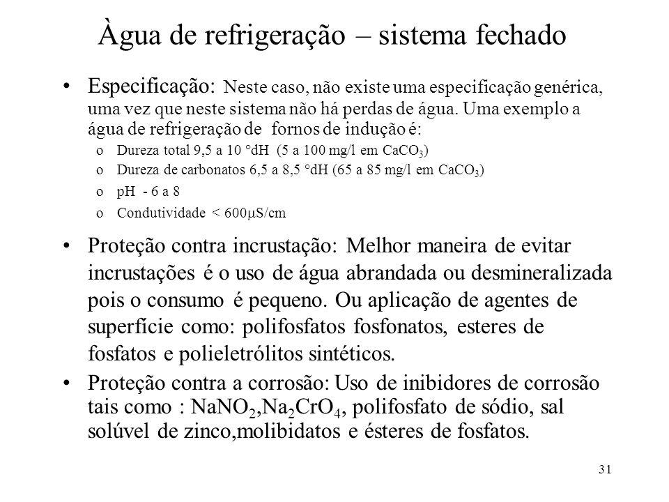 31 Àgua de refrigeração – sistema fechado Especificação: Neste caso, não existe uma especificação genérica, uma vez que neste sistema não há perdas de