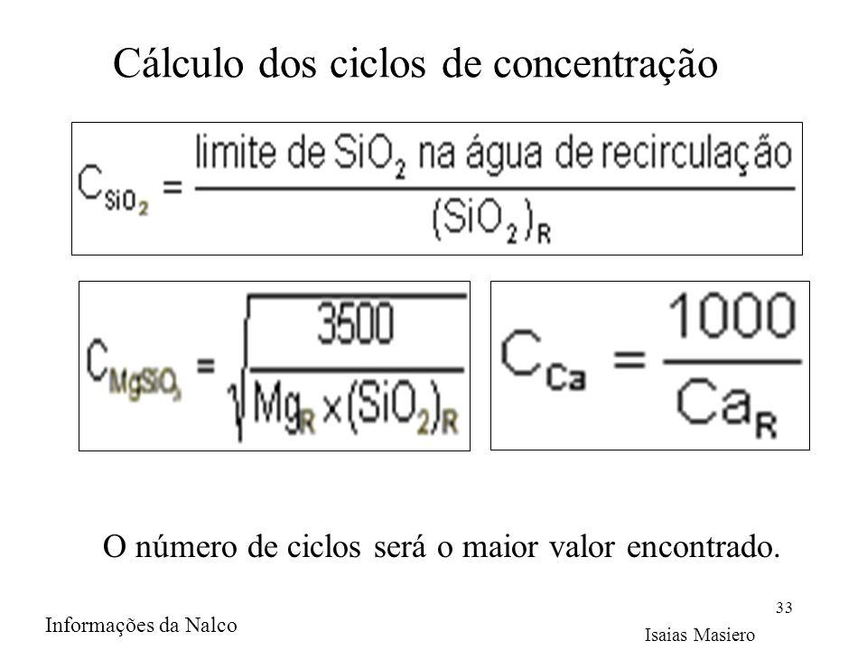 Cálculo dos ciclos de concentração 33 O número de ciclos será o maior valor encontrado. Isaias Masiero Informações da Nalco