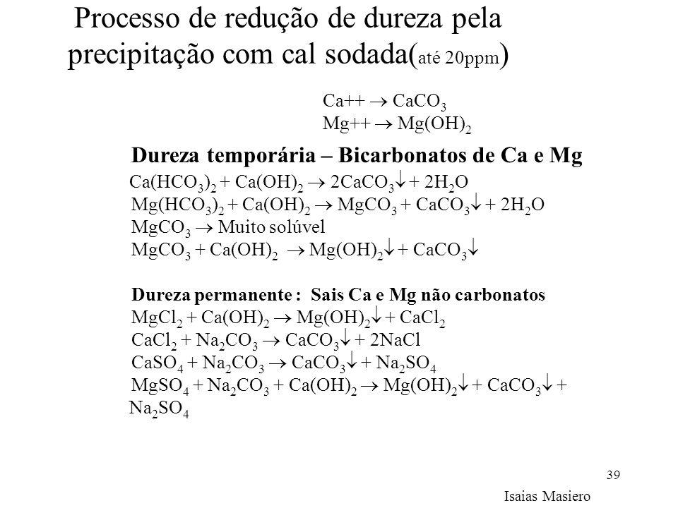39 Processo de redução de dureza pela precipitação com cal sodada( até 20ppm ) Ca++ CaCO 3 Mg++ Mg(OH) 2 Dureza temporária – Bicarbonatos de Ca e Mg C