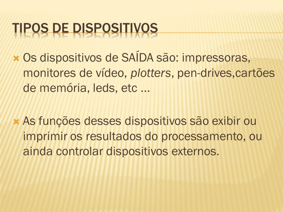 Os dispositivos de SAÍDA são: impressoras, monitores de vídeo, plotters, pen-drives,cartões de memória, leds, etc... As funções desses dispositivos sã