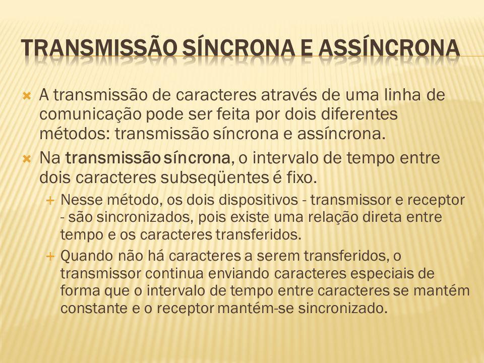 A transmissão de caracteres através de uma linha de comunicação pode ser feita por dois diferentes métodos: transmissão síncrona e assíncrona. Na tran