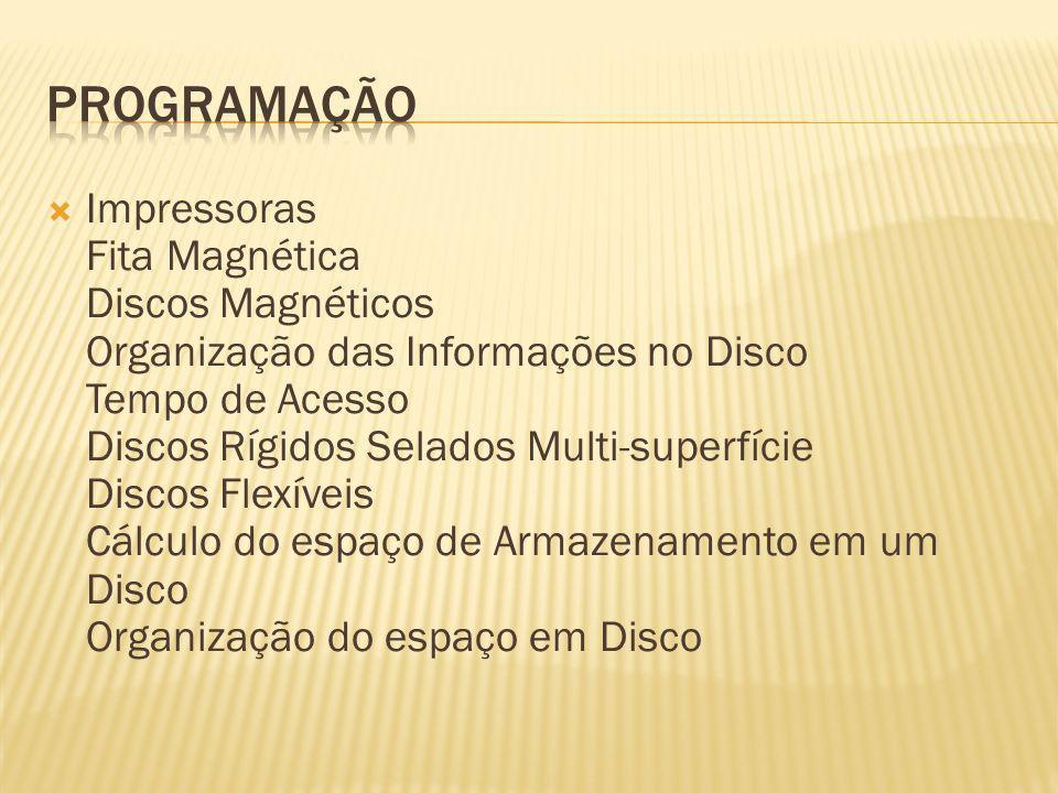 Impressoras Fita Magnética Discos Magnéticos Organização das Informações no Disco Tempo de Acesso Discos Rígidos Selados Multi-superfície Discos Flexí
