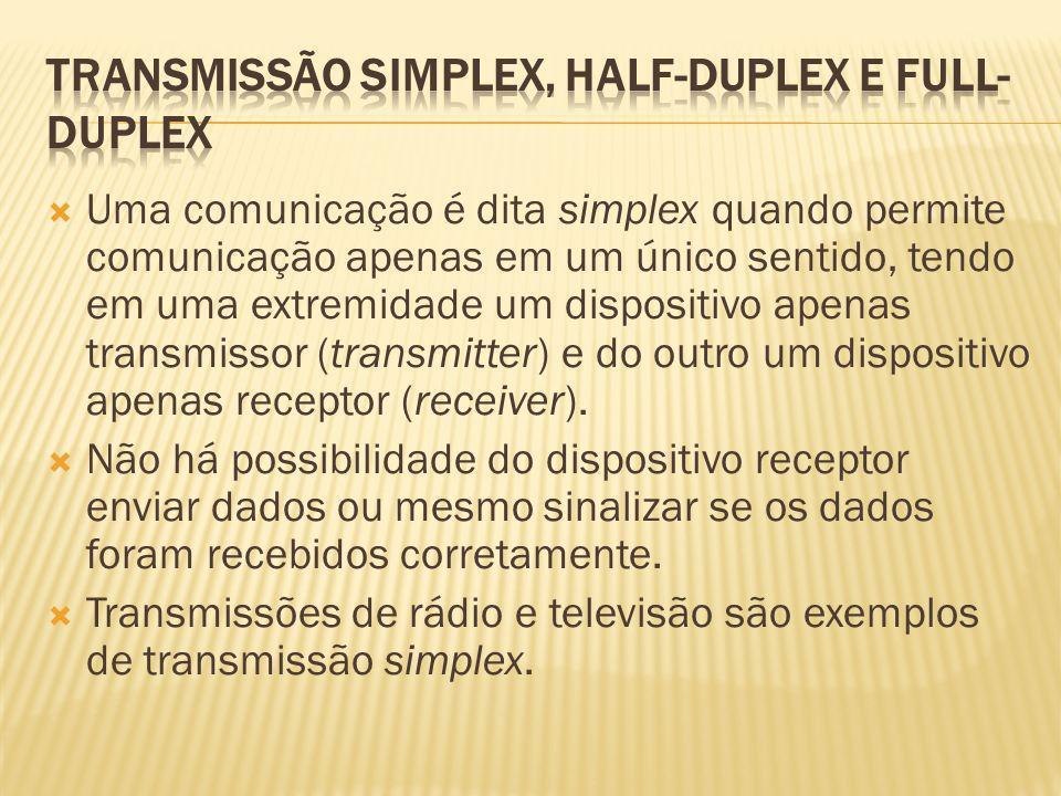 Uma comunicação é dita simplex quando permite comunicação apenas em um único sentido, tendo em uma extremidade um dispositivo apenas transmissor (tran