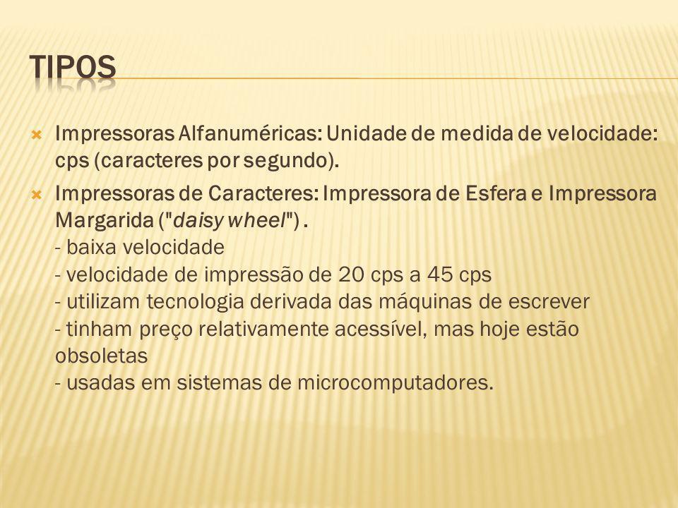 Impressoras Alfanuméricas: Unidade de medida de velocidade: cps (caracteres por segundo). Impressoras de Caracteres: Impressora de Esfera e Impressora
