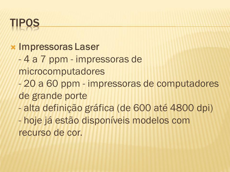 Impressoras Laser - 4 a 7 ppm - impressoras de microcomputadores - 20 a 60 ppm - impressoras de computadores de grande porte - alta definição gráfica