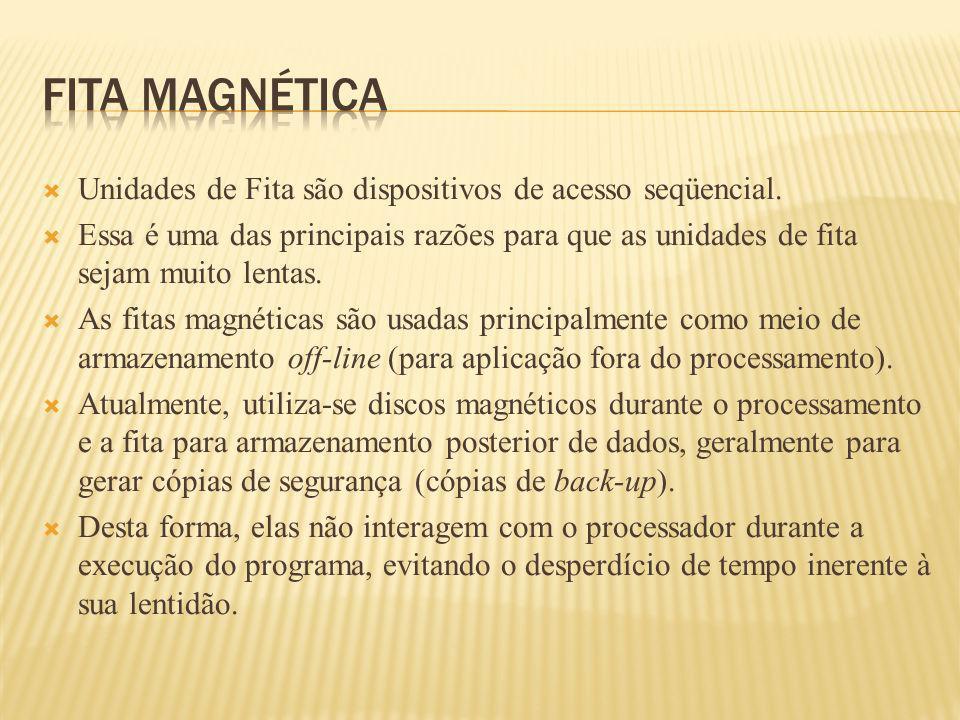 Unidades de Fita são dispositivos de acesso seqüencial. Essa é uma das principais razões para que as unidades de fita sejam muito lentas. As fitas mag