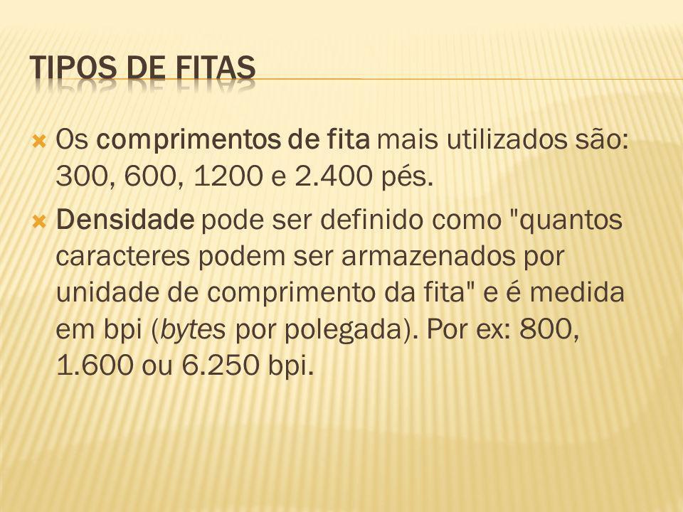 Os comprimentos de fita mais utilizados são: 300, 600, 1200 e 2.400 pés. Densidade pode ser definido como