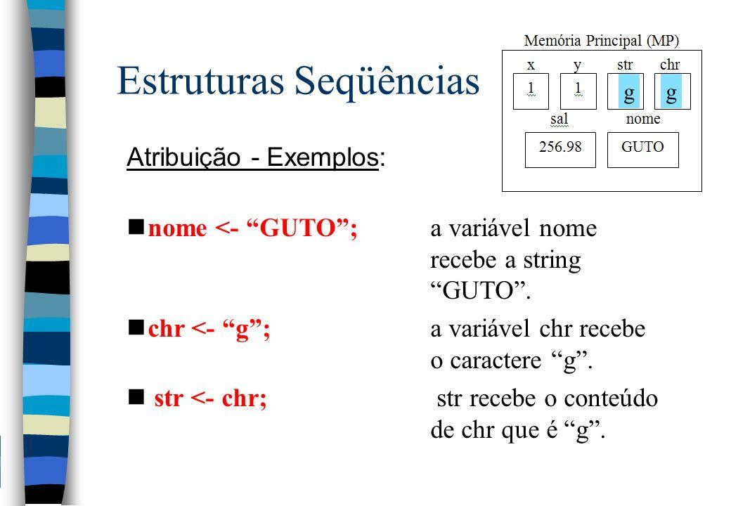 Estruturas Seqüências Atribuição - Exemplos: nEntão podemos resumir o exemplo 3 como: x e y são duas variáveis inteiras; sal é uma variável do tipo real; nome é uma variável do tipo caractere; chr e str são variáveis do tipo char.