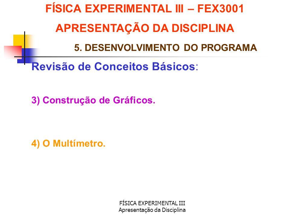 FÍSICA EXPERIMENTAL III Apresentação da Disciplina Revisão de Conceitos Básicos: FÍSICA EXPERIMENTAL III – FEX3001 APRESENTAÇÃO DA DISCIPLINA 5. DESEN