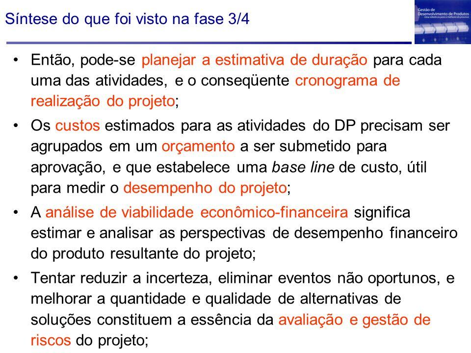 Síntese do que foi visto na fase 3/4 Então, pode-se planejar a estimativa de duração para cada uma das atividades, e o conseqüente cronograma de reali