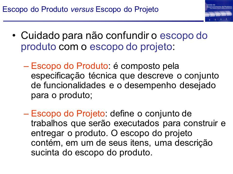 Escopo do Produto versus Escopo do Projeto Cuidado para não confundir o escopo do produto com o escopo do projeto: –Escopo do Produto: é composto pela
