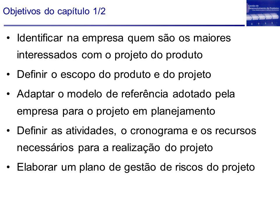 Objetivos do capítulo 1/2 Identificar na empresa quem são os maiores interessados com o projeto do produto Definir o escopo do produto e do projeto Ad