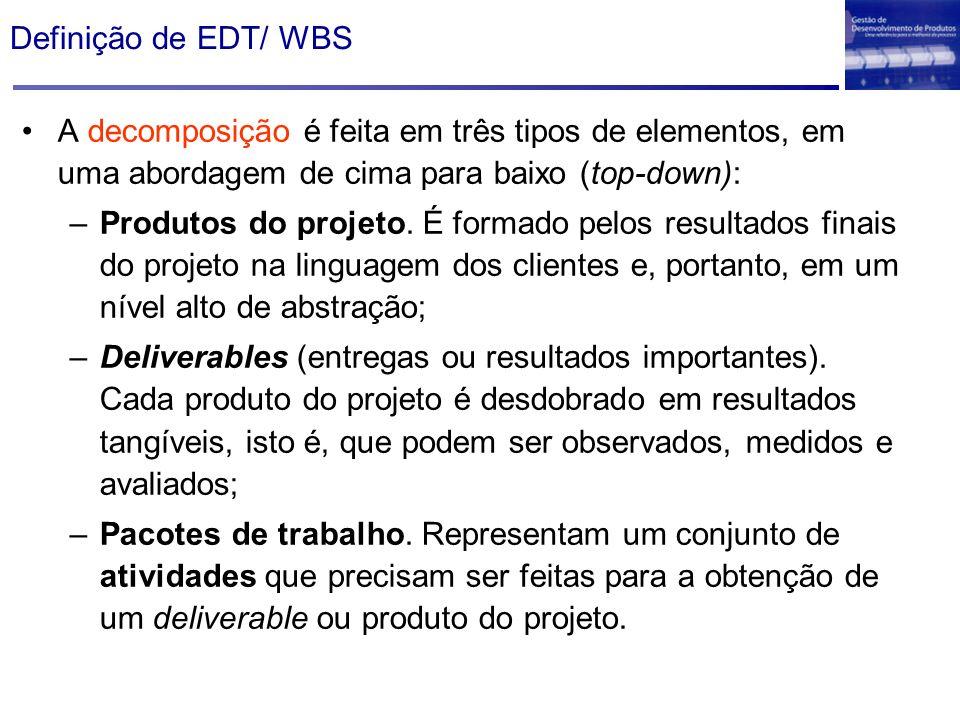 A decomposição é feita em três tipos de elementos, em uma abordagem de cima para baixo (top-down): –Produtos do projeto. É formado pelos resultados fi