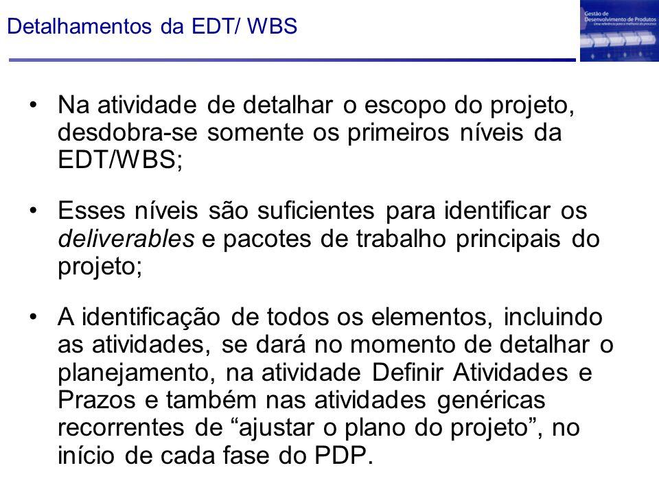Detalhamentos da EDT/ WBS Na atividade de detalhar o escopo do projeto, desdobra-se somente os primeiros níveis da EDT/WBS; Esses níveis são suficient