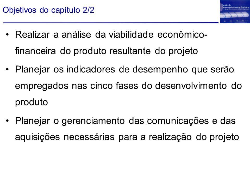 Objetivos do capítulo 2/2 Realizar a análise da viabilidade econômico- financeira do produto resultante do projeto Planejar os indicadores de desempen