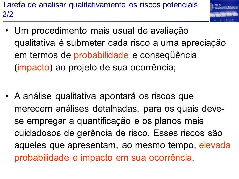 Tarefa de analisar qualitativamente os riscos potenciais 2/2 Um procedimento mais usual de avaliação qualitativa é submeter cada risco a uma apreciaçã