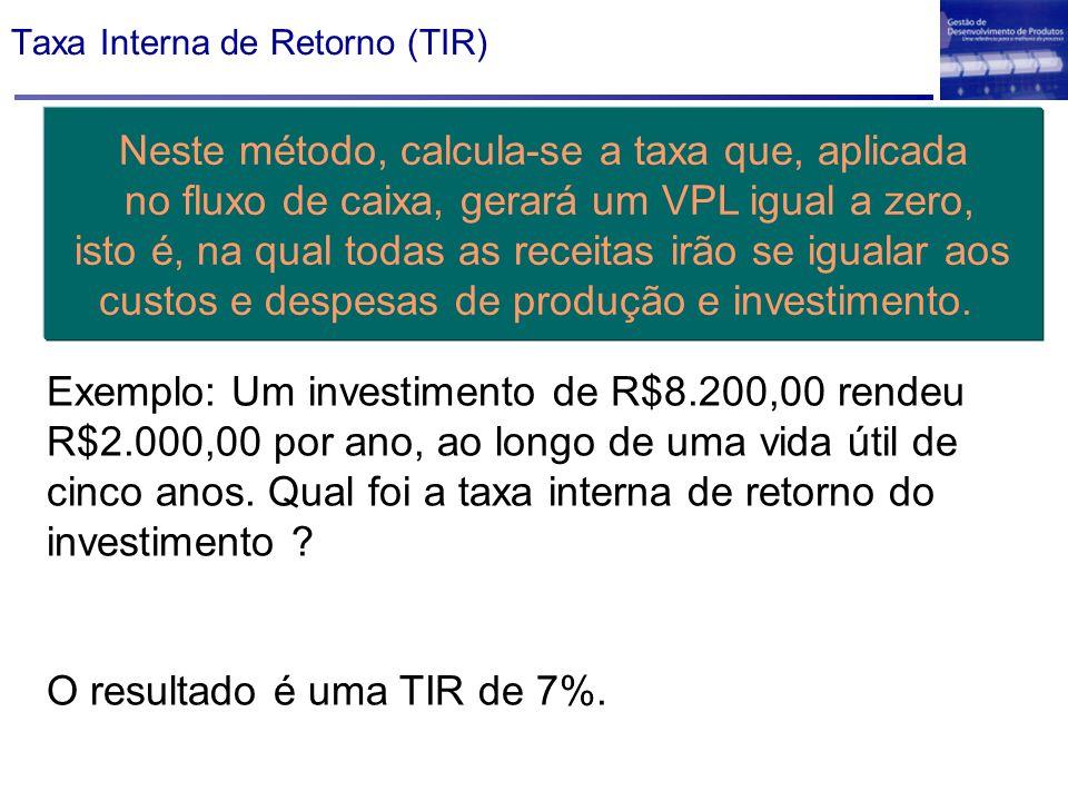 Taxa Interna de Retorno (TIR) Neste método, calcula-se a taxa que, aplicada no fluxo de caixa, gerará um VPL igual a zero, isto é, na qual todas as re