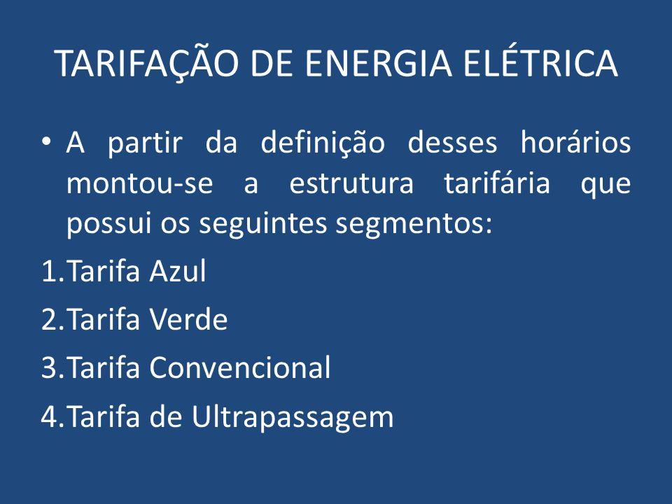 TARIFAÇÃO DE ENERGIA ELÉTRICA A partir da definição desses horários montou-se a estrutura tarifária que possui os seguintes segmentos: 1.Tarifa Azul 2