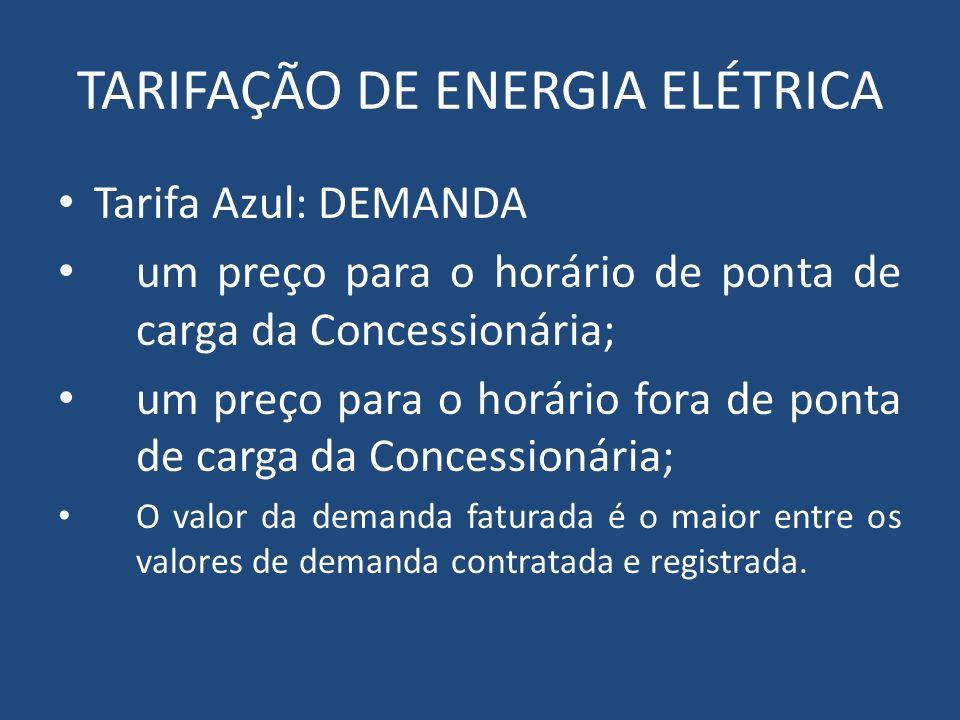 TARIFAÇÃO DE ENERGIA ELÉTRICA Tarifa Azul: DEMANDA um preço para o horário de ponta de carga da Concessionária; um preço para o horário fora de ponta