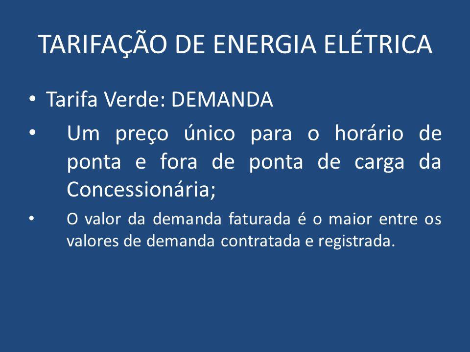 TARIFAÇÃO DE ENERGIA ELÉTRICA Tarifa Verde: DEMANDA Um preço único para o horário de ponta e fora de ponta de carga da Concessionária; O valor da dema