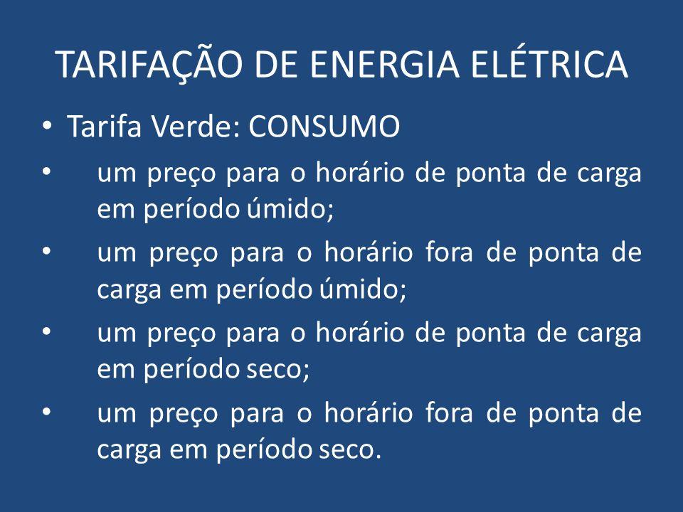 TARIFAÇÃO DE ENERGIA ELÉTRICA Tarifa Verde: CONSUMO um preço para o horário de ponta de carga em período úmido; um preço para o horário fora de ponta