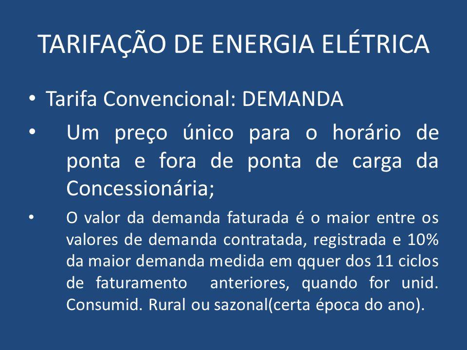 TARIFAÇÃO DE ENERGIA ELÉTRICA Tarifa Convencional: DEMANDA Um preço único para o horário de ponta e fora de ponta de carga da Concessionária; O valor