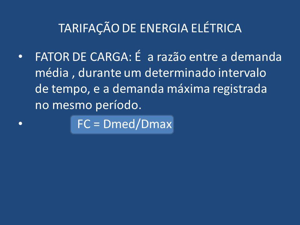 FATOR DE CARGA: É a razão entre a demanda média, durante um determinado intervalo de tempo, e a demanda máxima registrada no mesmo período. FC = Dmed/