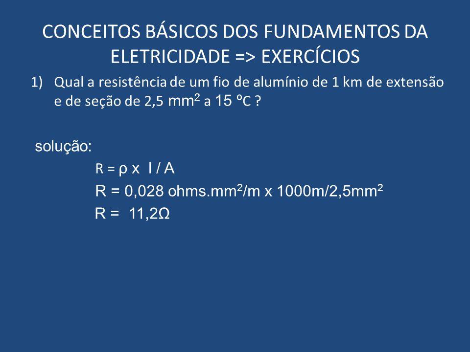 CONCEITOS BÁSICOS DOS FUNDAMENTOS DA ELETRICIDADE => EXERCÍCIOS 1)Qual a resistência de um fio de alumínio de 1 km de extensão e de seção de 2,5 mm 2