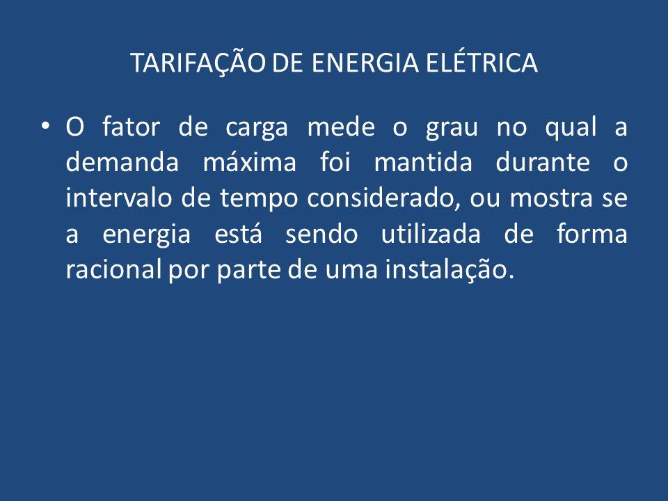 O fator de carga mede o grau no qual a demanda máxima foi mantida durante o intervalo de tempo considerado, ou mostra se a energia está sendo utilizad