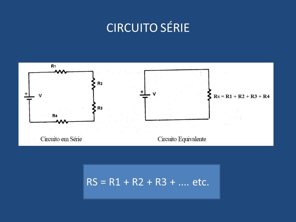 CIRCUITO SÉRIE RS = R1 + R2 + R3 +.... etc.