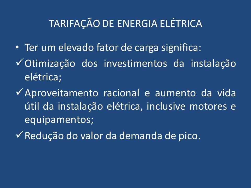 TARIFAÇÃO DE ENERGIA ELÉTRICA Ter um elevado fator de carga significa: Otimização dos investimentos da instalação elétrica; Aproveitamento racional e