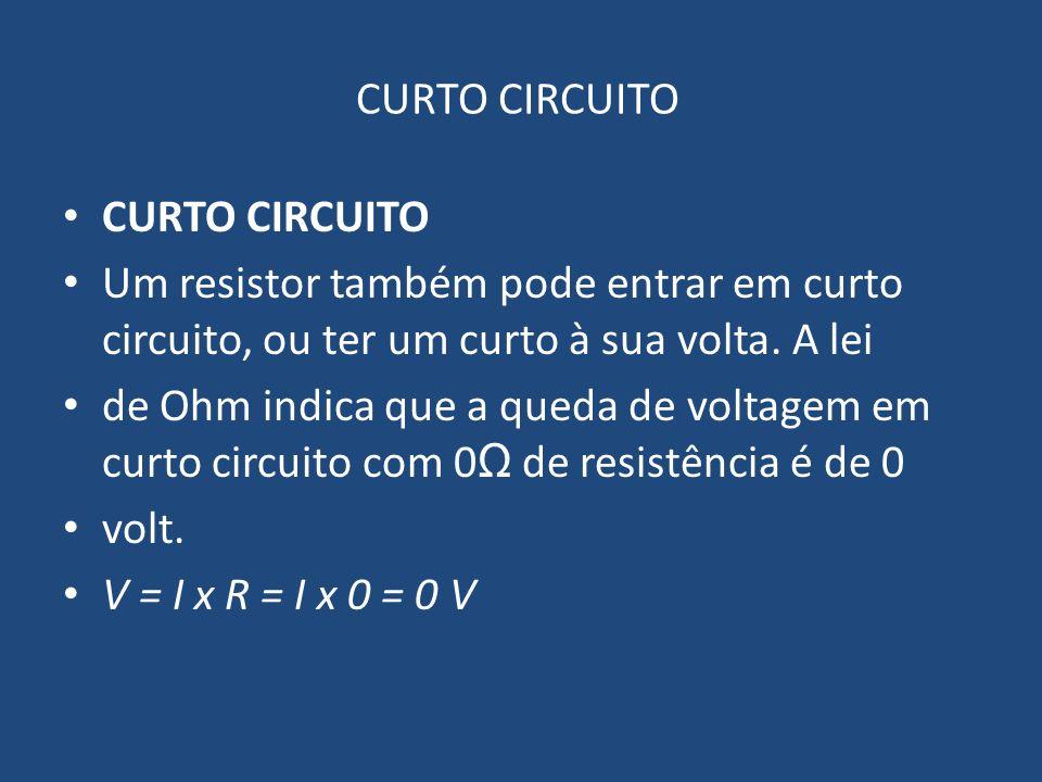 CURTO CIRCUITO Um resistor também pode entrar em curto circuito, ou ter um curto à sua volta. A lei de Ohm indica que a queda de voltagem em curto cir