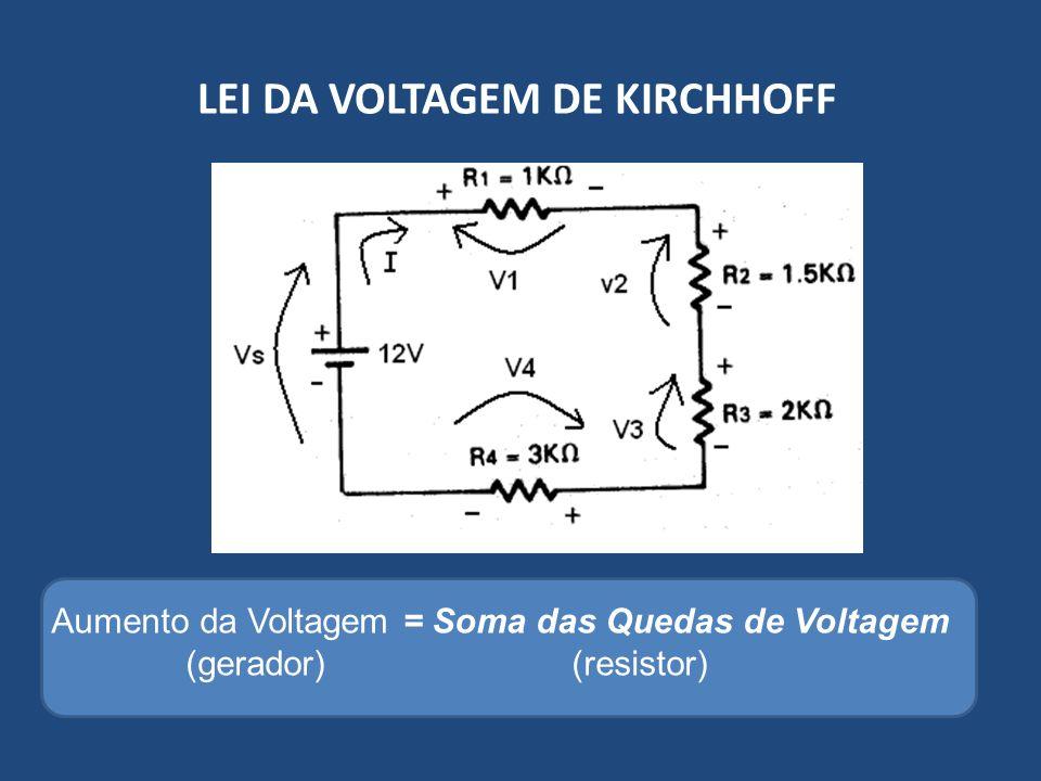 LEI DA VOLTAGEM DE KIRCHHOFF Aumento da Voltagem = Soma das Quedas de Voltagem (gerador)(resistor)