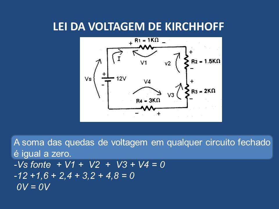 A soma das quedas de voltagem em qualquer circuito fechado é igual a zero. -Vs fonte + V1 + V2 + V3 + V4 = 0 -12 +1,6 + 2,4 + 3,2 + 4,8 = 0 0V = 0V
