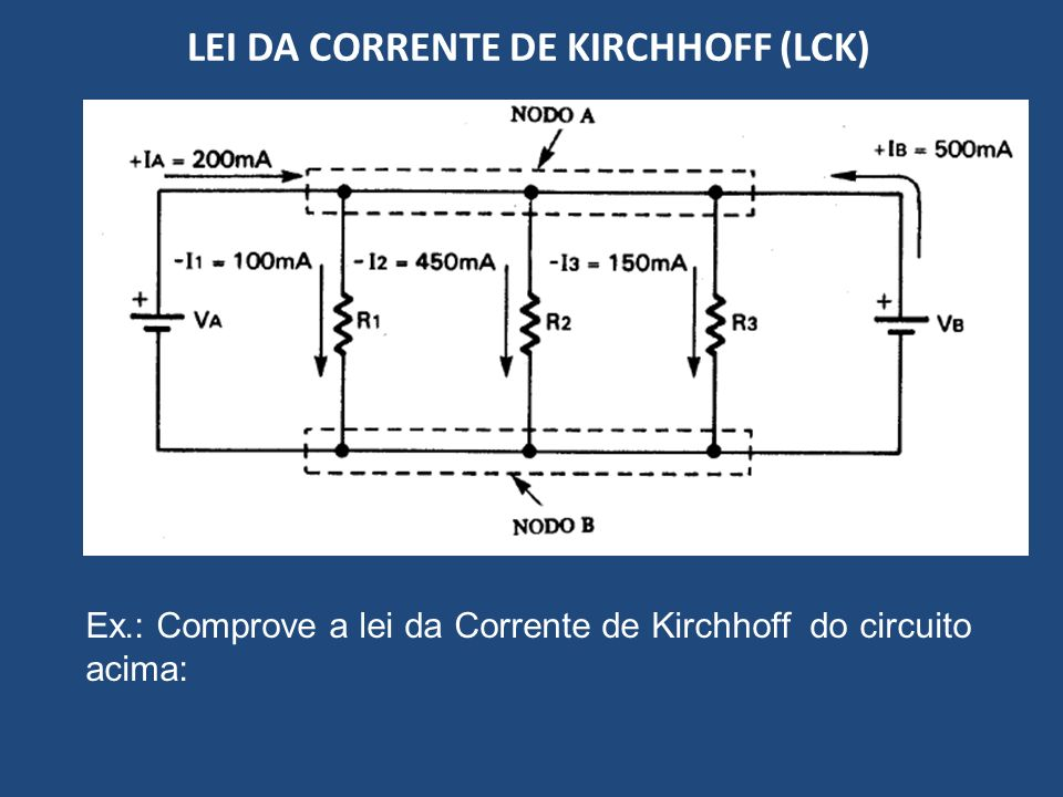 LEI DA CORRENTE DE KIRCHHOFF (LCK) Ex.: Comprove a lei da Corrente de Kirchhoff do circuito acima:
