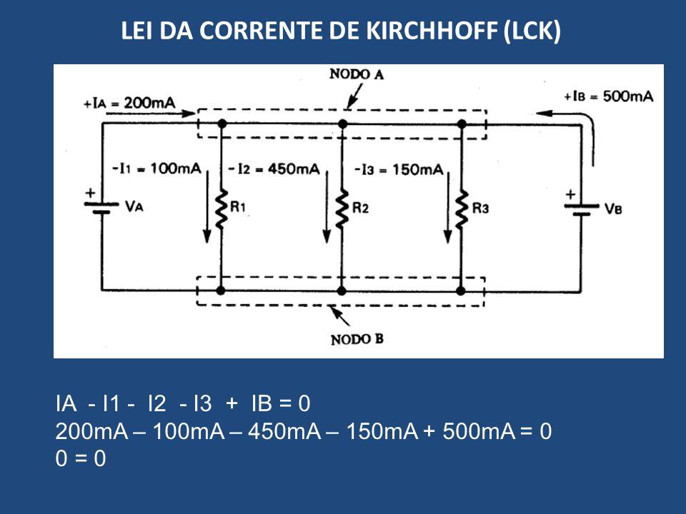 LEI DA CORRENTE DE KIRCHHOFF (LCK) IA - I1 - I2 - I3 + IB = 0 200mA – 100mA – 450mA – 150mA + 500mA = 0 0 = 0