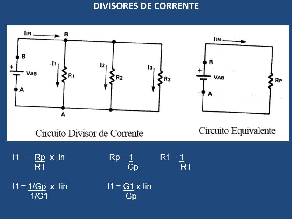 DIVISORES DE CORRENTE I1 = Rp x Iin Rp = 1 R1 = 1 R1 Gp R1 I1 = 1/Gp x Iin I1 = G1 x Iin 1/G1 Gp