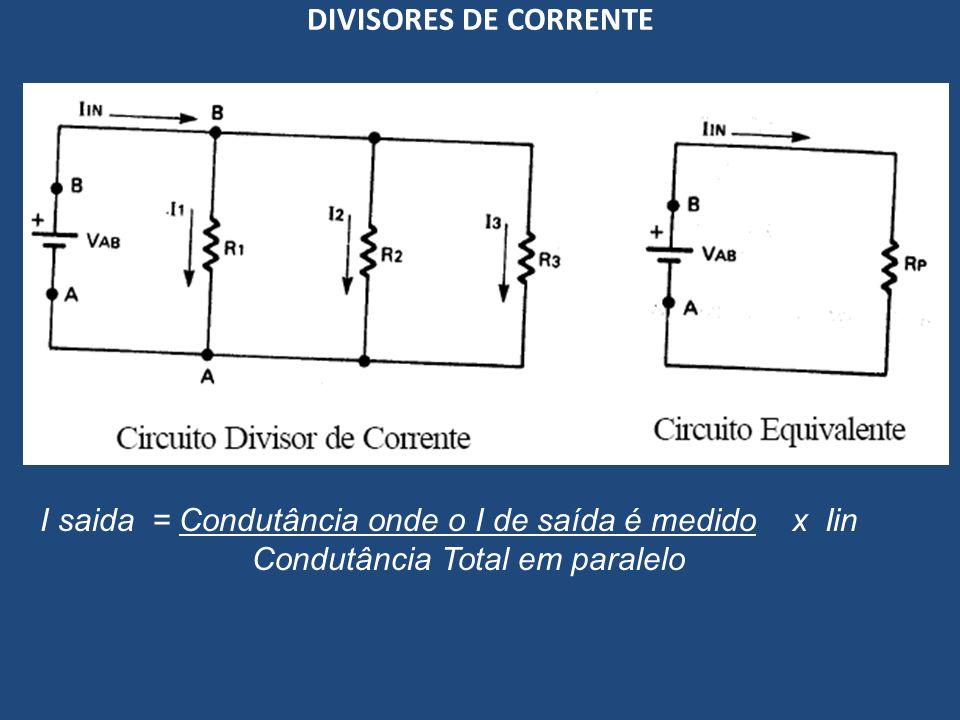 DIVISORES DE CORRENTE I saida = Condutância onde o I de saída é medido x Iin Condutância Total em paralelo