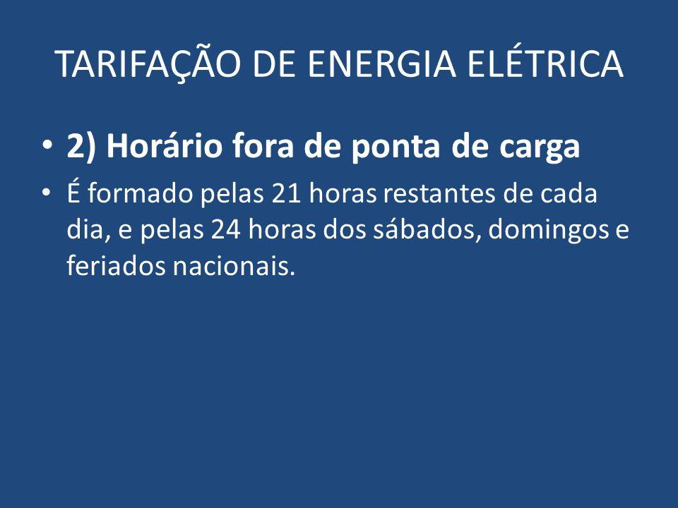 TARIFAÇÃO DE ENERGIA ELÉTRICA 2) Horário fora de ponta de carga É formado pelas 21 horas restantes de cada dia, e pelas 24 horas dos sábados, domingos