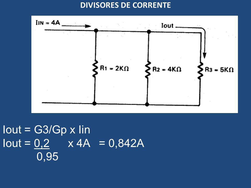 DIVISORES DE CORRENTE Iout = G3/Gp x Iin Iout = 0,2 x 4A = 0,842A 0,95